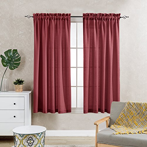 Semi Sheer Curtains For Kitchen Curtain Linen Textured