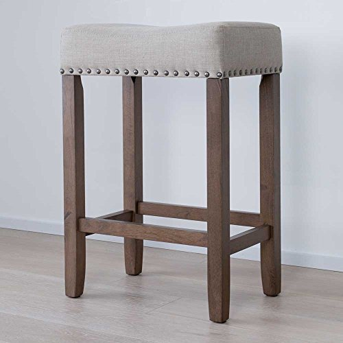 Wood Kitchen Counter Bar Stool Backless Upholstered