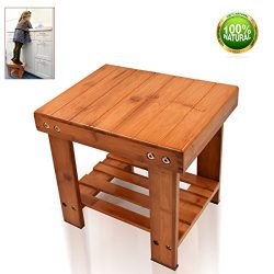 Bamboo Step Stool Kids Stool Small Size Toddlers Seat Storage Shelf Bench for Bathroom Kitchen R ...