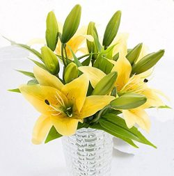 HFDA 10 piece Artificial Flowers Lily Home Kitchen Dining Table Centerpieces Decorations and Wed ...