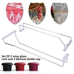 2PCS Wine Glass Rack , Steamware Drying Under Cabinet Holder  Hanging With 4 Cup Glasses , Champ ...