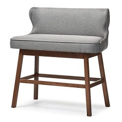 Baxton Studio Gradisca Modern & Contemporary Fabric Button-Tufted Upholstered Banquette Bar  ...