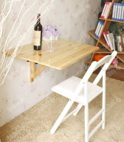 SoBuy Wall-mounted Drop-leaf Table, Double Folding Kitchen & Dining Solid Wood Table Desk, 8 ...