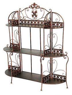 Heather Ann Creations Oliver Collection Contemporary Style Ornate Steel 3 Shelf Bakers Rack, Bla ...