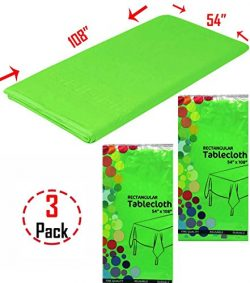 Heavy Duty Plastic Table Cover -54'' x 108'', Rectangular Tablecloth, Set of 3 (Lime Green))