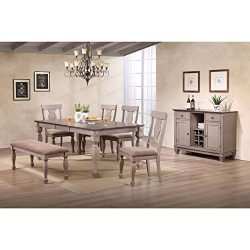 K and B Furniture Co Inc K and B Furniture Two-tone Brown Wood Upholstered Dinette Dining Room D ...