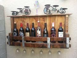 Hand made Wall Mount Re Cycled Wine Barrel Pallet Wine Rack, Wine Glass Holder