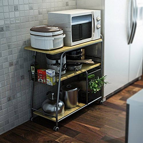 Shop Simple Living Rolling Galvin Microwave Cart: Kitchen Storage Cart, Creatwo 3 Tiers Kitchen Island