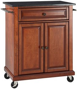 Crosley Furniture Cuisine Kitchen Island with Solid Black Granite Top – Classic Cherry