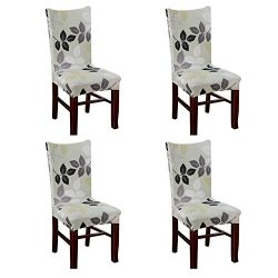 Fuloon Super Fit Stretch Removable Washable Short Dining Chair Protector Cover Seat Slipcover fo ...