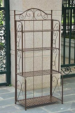 4-Tier Iron Indoor/Outdoor Bakers Rack (Brown) Color: Brown, Model: , Home/Garden & Outdoor  ...
