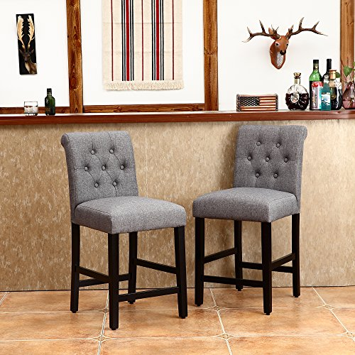 Lssbought Set Of 2 Button Tufted Fabric Barstools Dining