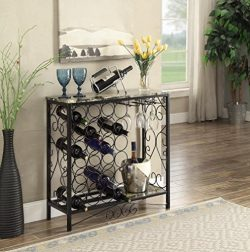 Black and Marble Look Top with 24 Bottles and Glass Holder Wine Organizer Rack Cabinet Kitchen 3 ...