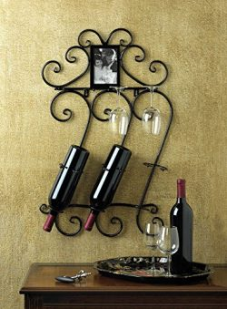 WINE WALL SCROLLWORK MOUNTED RACK AND PHOTO FRAME DECOR ~10015695 __#primo_bella_cosa