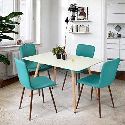 FurnitureR Set of 4 Dining Chair Tulip Natural Solid Wood Legs Design with Cushioned Pad Lounge  ...