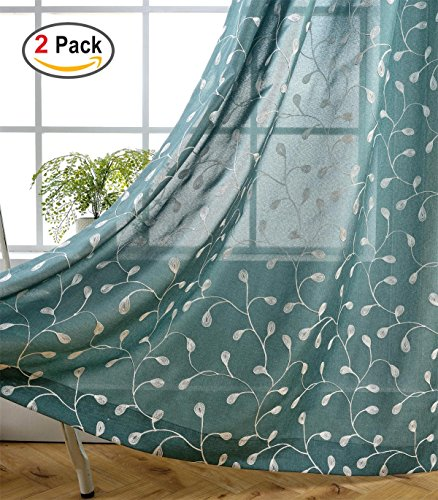 Miuco Floral Embroidered Semi Sheer Curtains Faux Linen