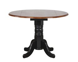 Sunset Trading Round Drop Leaf Table with Cherry Finish Top, Antique Black