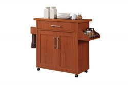 Hodedah Kitchen Island with Spice Rack, Towel Rack & Drawer, Cherry