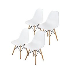 Buschman Mid Century Modern Dining Room Chairs – Eames Style Chair, White, Set of 4