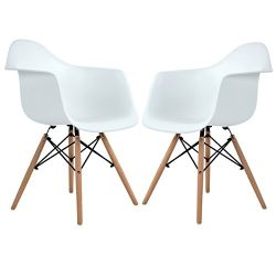 Modern Eames Style Side Dining Armchair Plastic Lounge Chairs with Wood Legs for Dining Room Kit ...