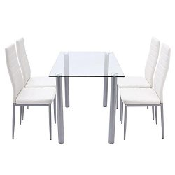Benlet 5 Piece White Modern Dining Set Table + 4 Chairs Glass Top Kitchen Breakfast Furniture