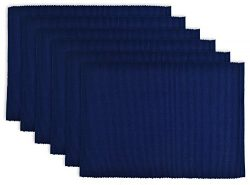 DII 100% Cotton, Ribbed 13x 19″ Everyday Basic Placemat Set of 6, Nautical Blue