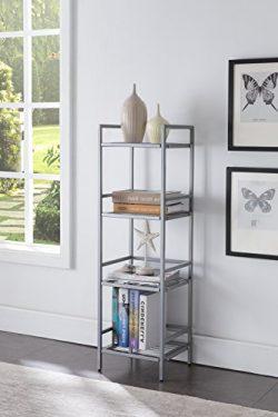 Silver Finish Metal 4-tier Bookshelf Bookcase Audio Video Media Display Cabinet