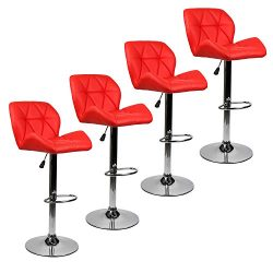 Bar Stools Modern Hydraulic Adjustable Swivel Barstools, Leather Padded with Back, Dinning Chair ...