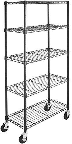 "AmazonBasics 5-Shelf Shelving Unit on 4"" Casters, Black"