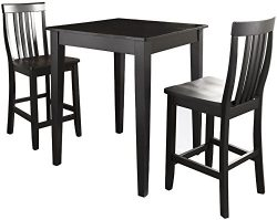 Crosley Furniture 3-Piece Pub Set with Tapered Leg Table and Schoolhouse Stools – Black