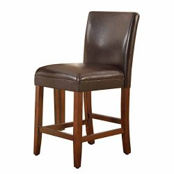 Kinfine Parsons Leatherette Counter Height Chair, Brown, 24-Inch