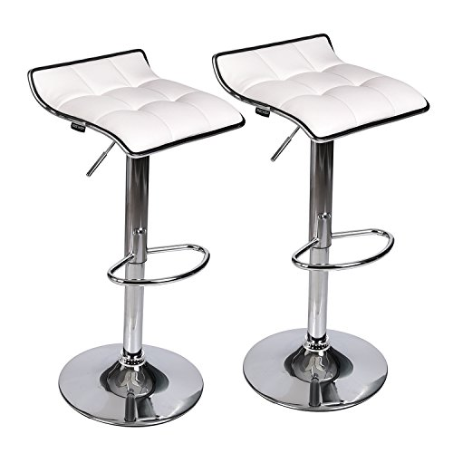 Adjustable Swivel Barstools Pu Leather With Chrome Base