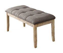 Homelegance HURON 49″ Bench with Button Tufted Accent, Gray