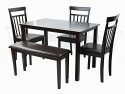 5 PC Dining Kitchen Wood Set Rectangular Table 3 Warm Chair Bench ESPRESSO