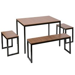 Harper&Bright Designs Collection Dining Table with Bench Set / 4-Piece set