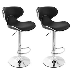 Belleze Modern Adjustable Faux Leather Swivel Bar Stools Chairs-Sets of 2, Black