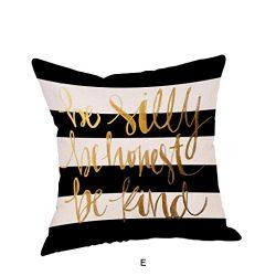 Vovotrade Happy Christmas Pillow Cases Sofa Cushion Cover Home Decor Hidden Zipper Pillow Cover (E)
