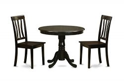 East West Furniture ANTI3-CAP-W 3-Piece Kitchen Table Set with Breakfast Nook, Cappuccino Finish