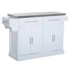 HomCom Modern Rolling Kitchen Island Storage Cart w/ Stainless Steel Top – White