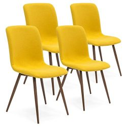 Best Choice Products Set of 4 Mid Century Modern Dining Room Chairs w/Fabric Upholstery & Wo ...