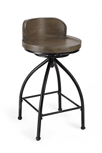 Fivegiven Counter Height Bar Stool 24 Inch With Back Swivel Rustic Industrial Bar Stool With