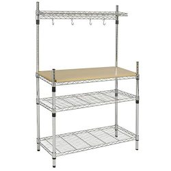 Best Choice Products BCP Kitchen Storage Bakers Rack Chrome & Wood W/ Top Shelf Pan Hanger C ...