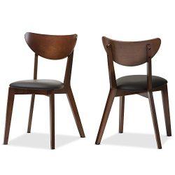 Baxton Studio Desta Mid-Century Walnut Brown Dining Chair (Set of 2), Black/Walnut Brown