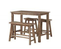 Boraam 75027 4 Piece Sonoma Pub Table Set, 36 x 47.25 x 23.75″, Neutral Driftwood Gray Finish