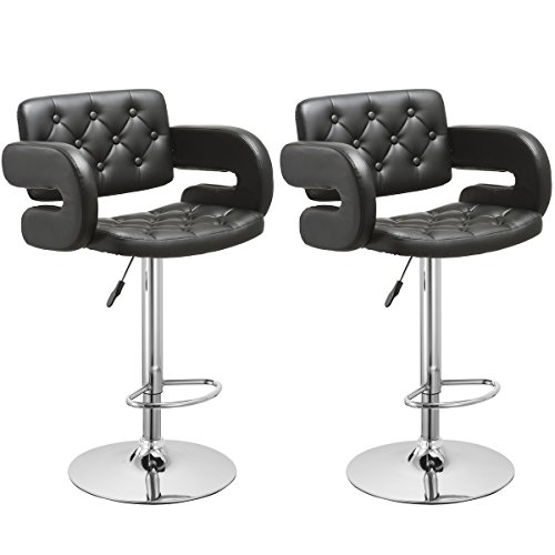 Swivel Counter Stool Bar Stool High Chair Black Kitchen: Bar Stool, GentleShower Set Of 2 PU Leather Swivel Pub