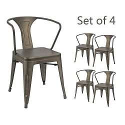 Devoko Gun Metal Chair Indoor-Outdoor Tolix Style Kitchen Dining Chairs Stackable Arm Chairs Set ...