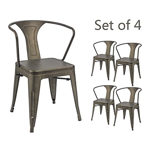 Devoko Gun Metal Chair Indoor Outdoor Tolix Style Kitchen