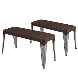 Adeco Vintage Style Metal Dining Table Bench – Dark Brown Seat Panel and Chrome Legs ̵ ...