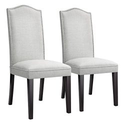 LANGRIA High Back Button Tufted Dining Chair Modern Faux Linen Upholstered Dining Room Chair Set ...