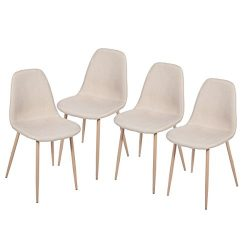 Merax Eames Style Fabric Dining Side Chairs with Metal Legs and Padded Seat & Back (Set of 4 ...